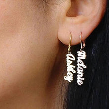 Load image into Gallery viewer, Classic Nameplate Drop Earrings - Darlings Jewelry | Express Yourself Through Bling!