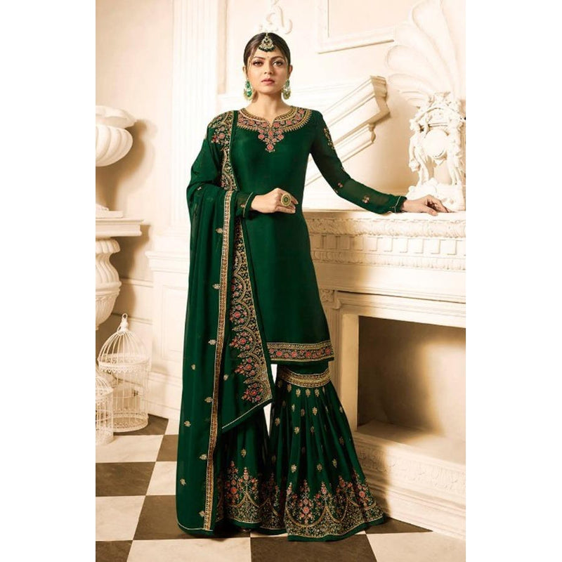 Siya Fashion Party Wear Green Faux Georgette Palazzo Suit