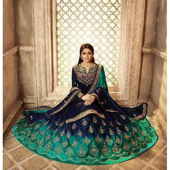 Siya Fashion Drashti Dhami Navy Blue Satin Georgette Lehenga Suit