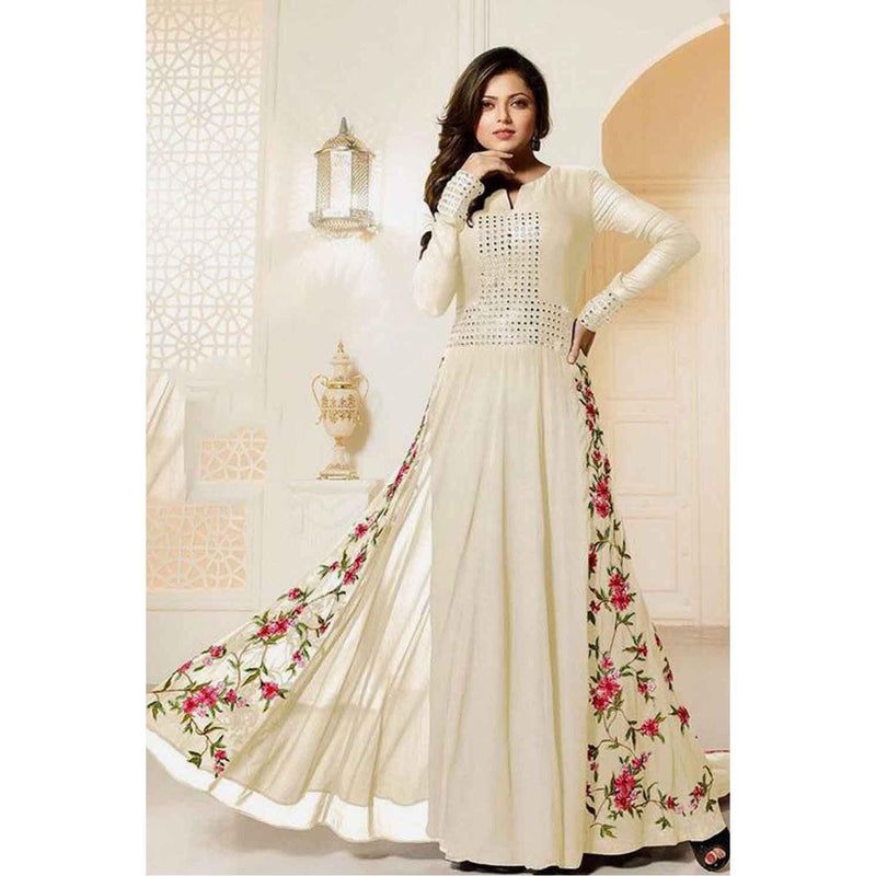 Siya Fashion Designer White Color Mirror Work Party Wear Gown