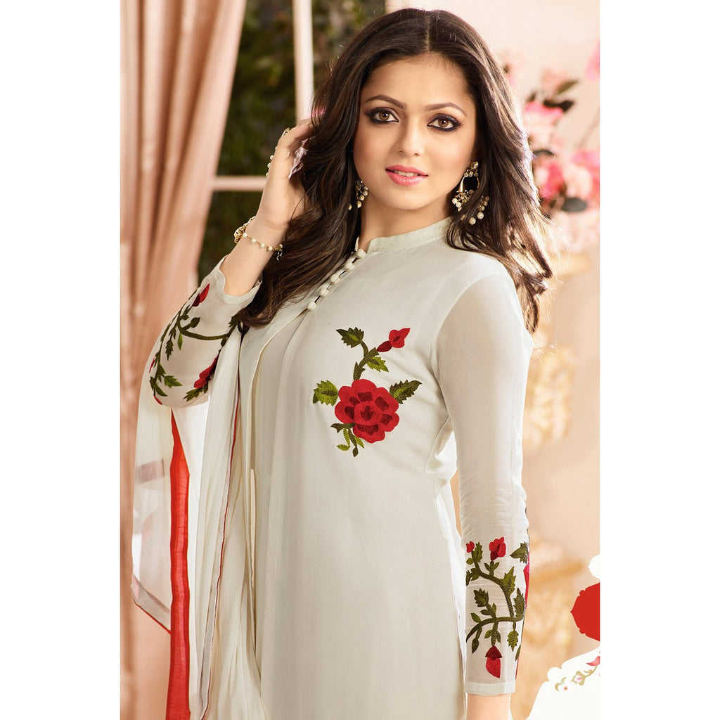 Siya Fashion Designer White Latest Faux Georgette Embroidered Indo-Western