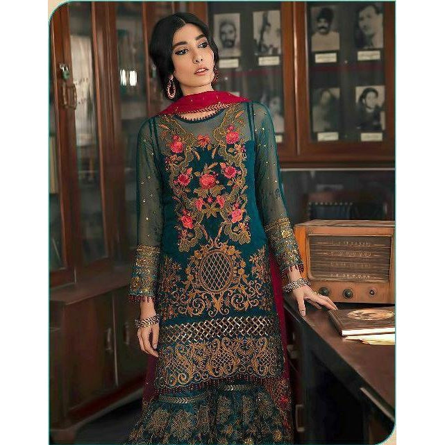 Siya Fashion Designer Dark Green Color Faux Georgette Pakistani Style Sharara Suit