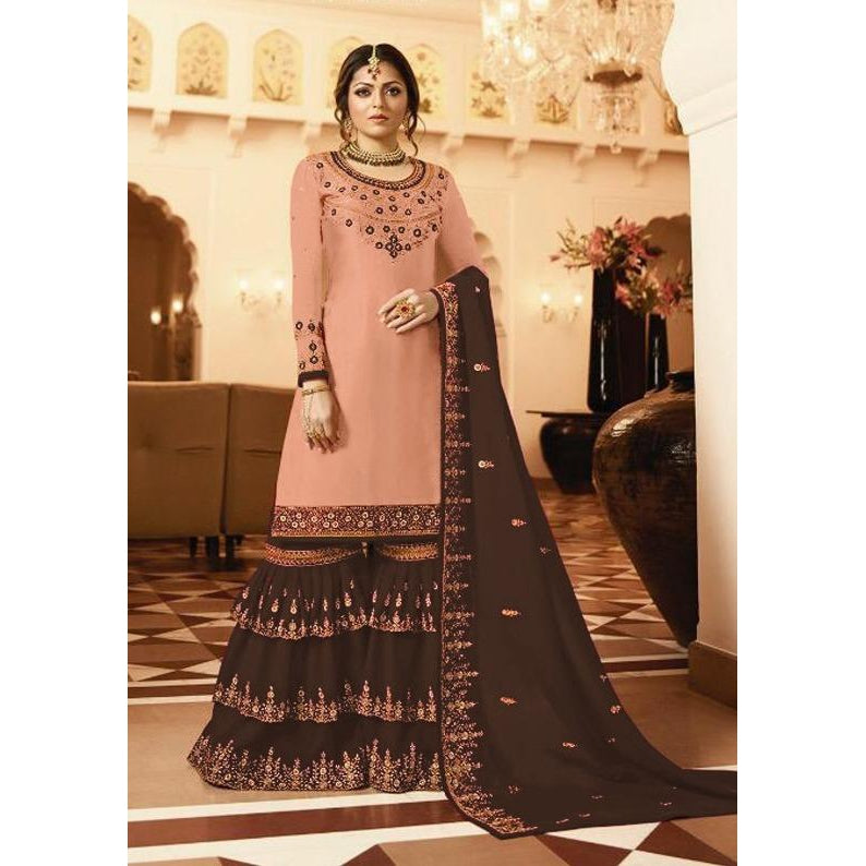 2ee1e5496e Siya Fashion Georgette Brown & Peach Color Designer Embroidered Pakistani  Sharara Suit