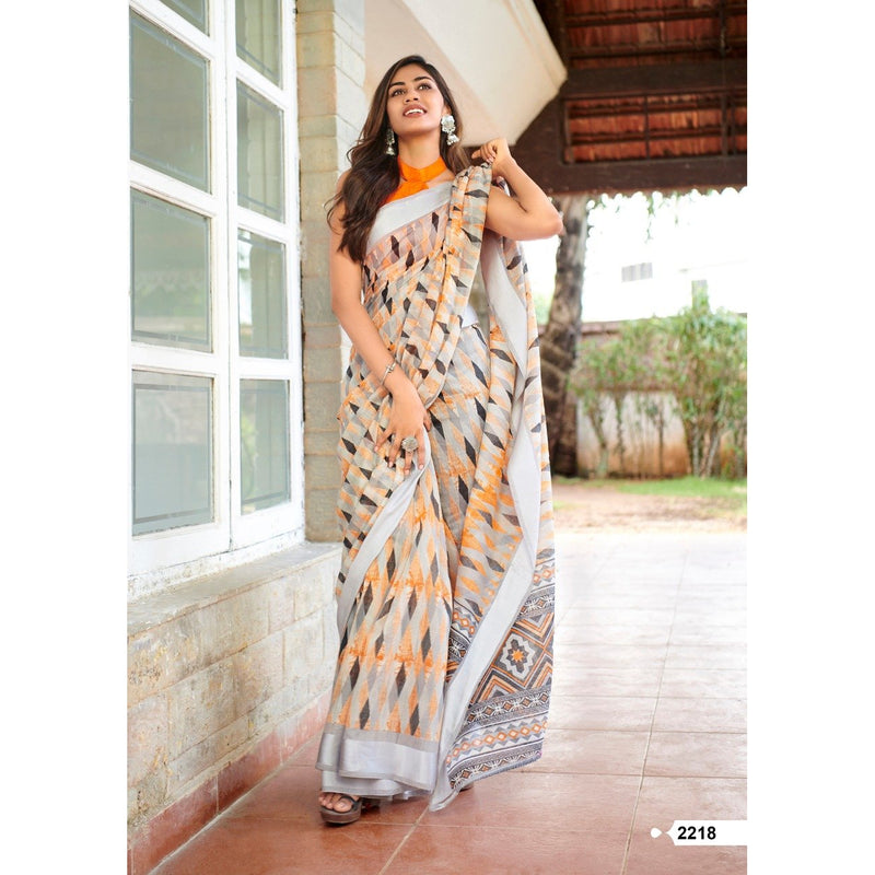 Siya Fashion Soft Linen Silk Sarees In Grey With Multicolor