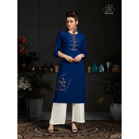 Siya Fashion Fantastic Peacock Blue Color Embroidered Kurti & Palazzo Suit