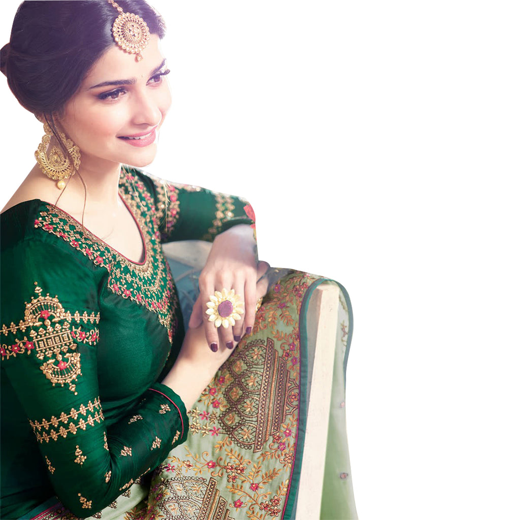 Siya Fashion Prachi Desai Green Silk Churidar Suit With Heavy Dupatta