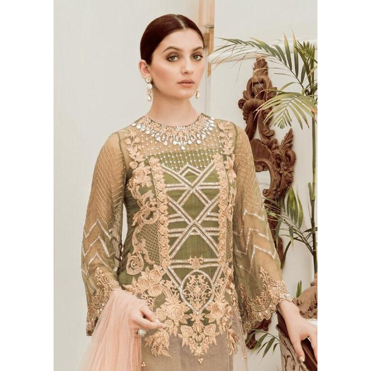 Siya Fashion Fantastic Beige & Mahendi Color Designer Pakistani Style Salwar Suit