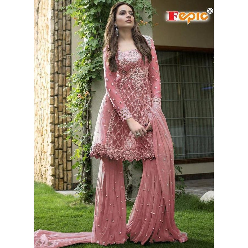 Siya Fashion Wonderful Mauve Color Designer Net Sharara Suit