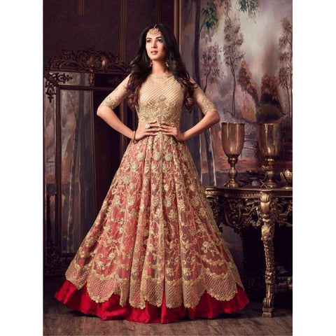 Siya Fashion Designer Net Light Pink Partywear Anarkali Suit
