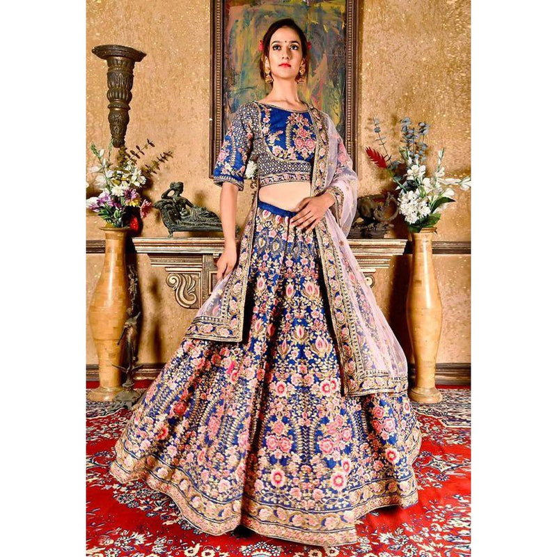 Siya Fashion Wedding Designer Navy Blue Chennai Silk Bridal Lehenga