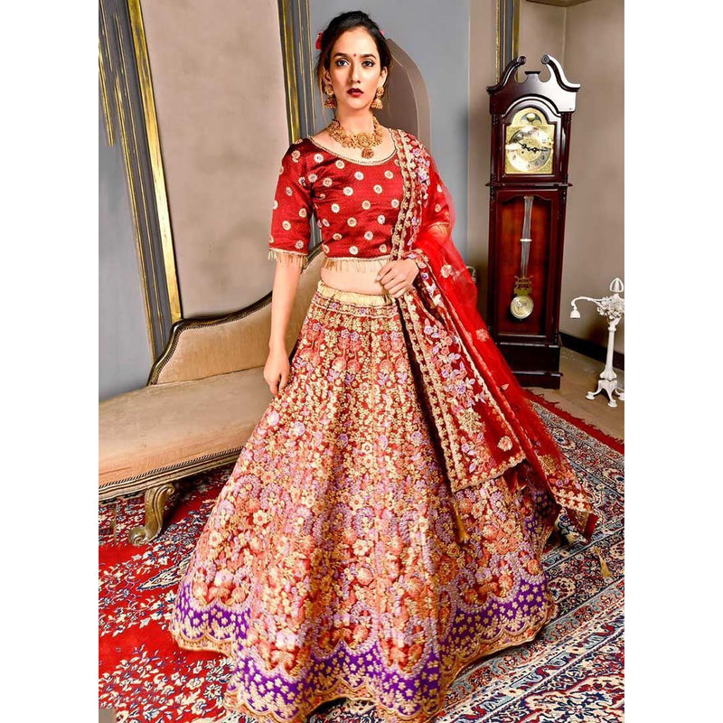 Siya Fashion Wedding Designer Maroon Silk Bridal Lehenga