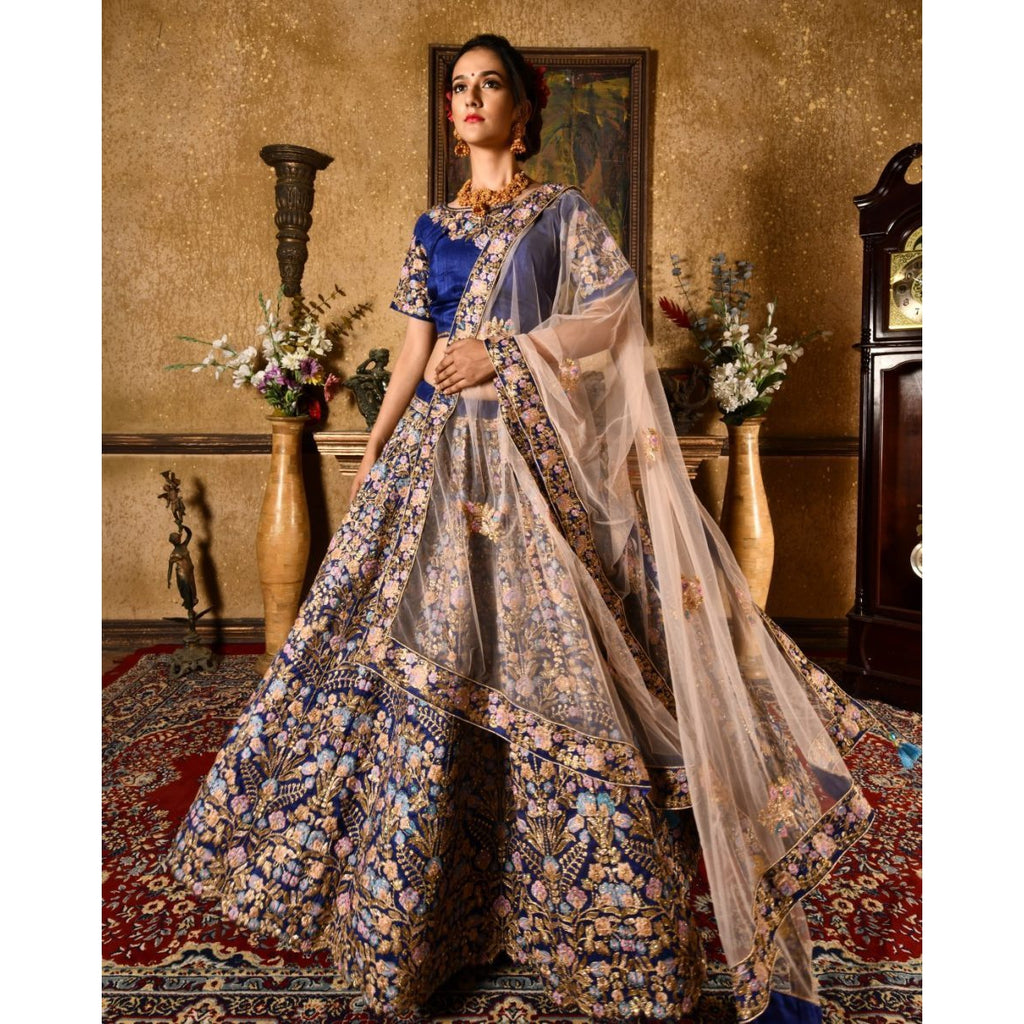 Siya Fashion Partywear Designer Navy Blue Bright Banarasi Bridal Lehenga