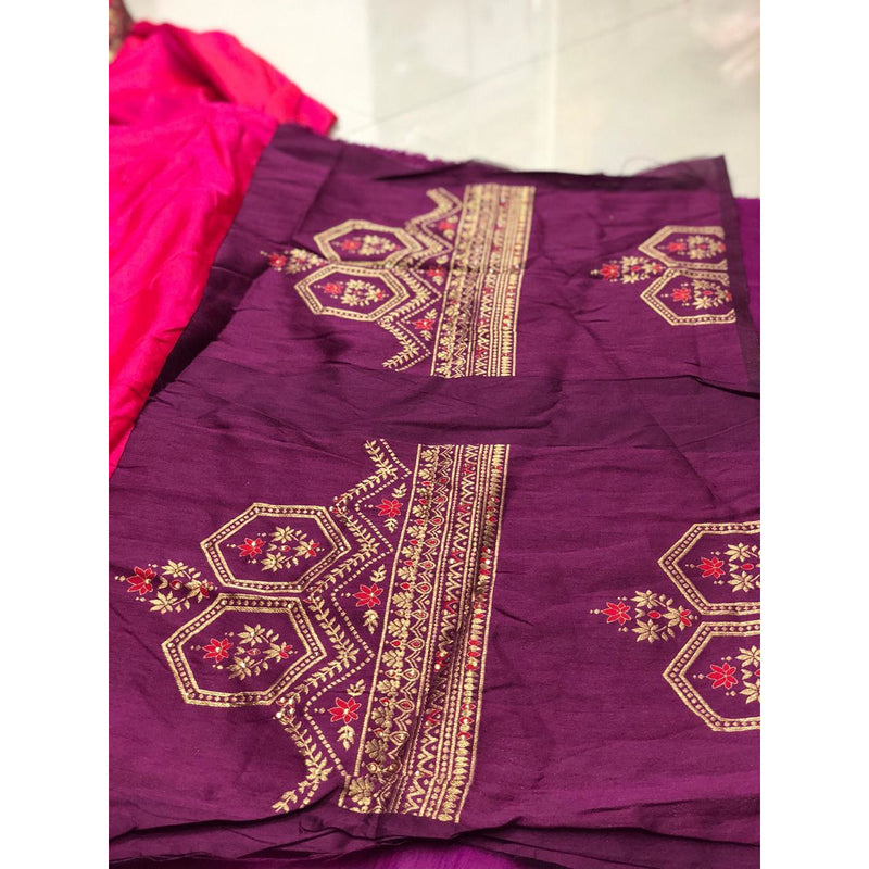 Siya Fashion Party wear Designer Dark Pink Color White Rangoli Fancy Saree