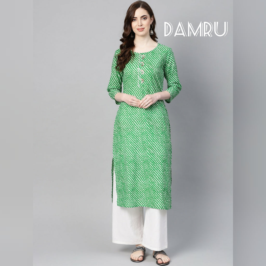 Siya Fashion Awesome Green Color Cotton Designer kurti