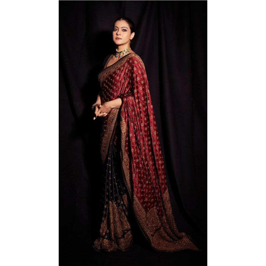 Siya Fashion Kajol Black & Burgundy Embroidered Saree