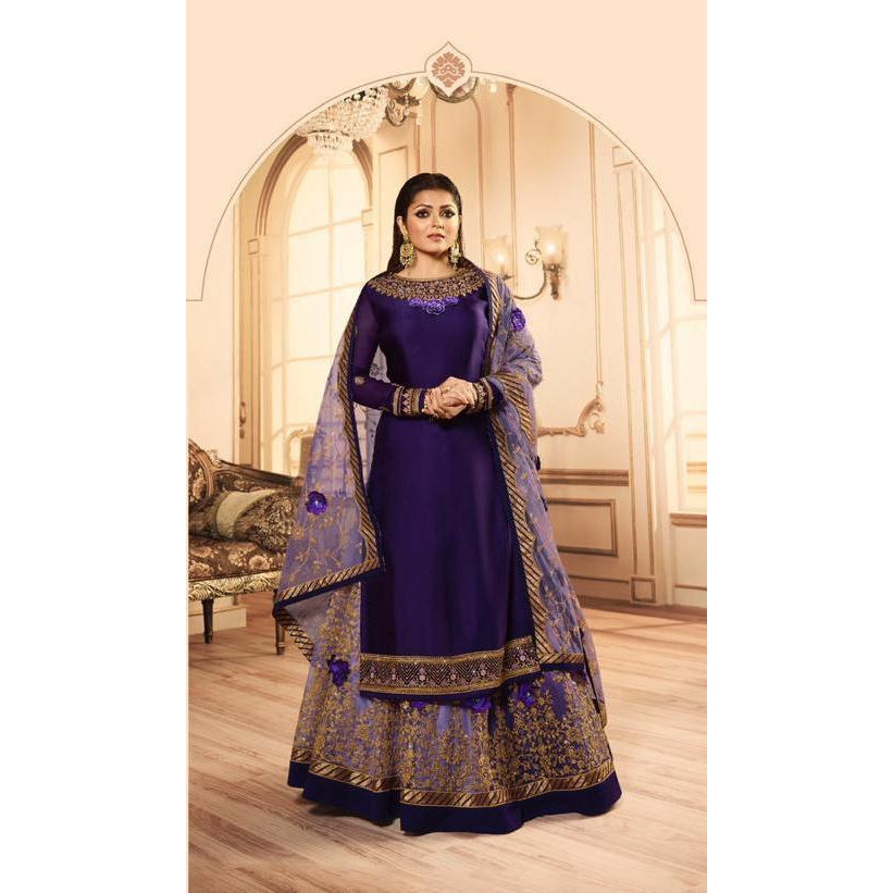 Siya Fashion Drashti Dhami Dark Violet Color Satin Georgette Designer Lehenga Suit