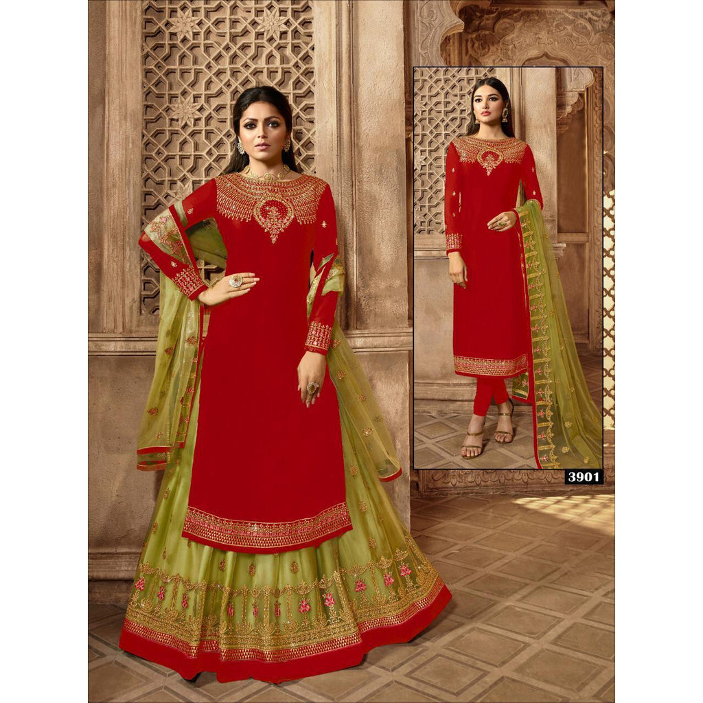 Siya Fashion Drashti Dhami Red & Mahendi Satin Georgette Lehenga Suit