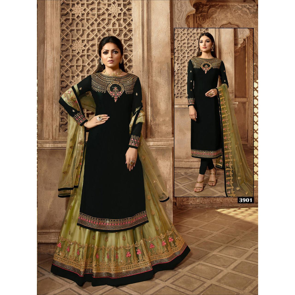 Siya Fashion Drashti Dhami Black & Mahendi Satin Georgette Lehenga Suit