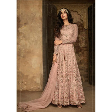 Siya Fashion Peach Heavy Designer Party Wear Long Anarkali Suit