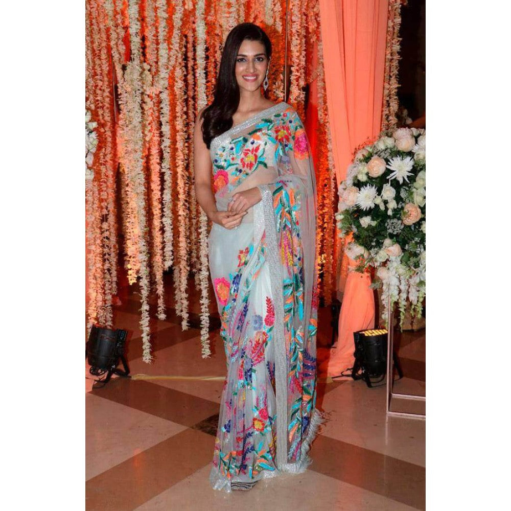 Siya Fashion Kriti Sanon Sky Blue & Multicolor Heavy Net Designer Saree