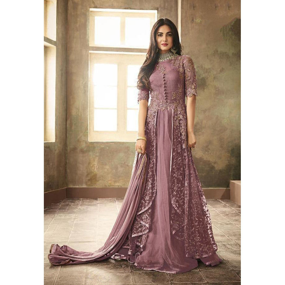 Siya Fashion Sonal Chauhan Net Purple Color Anarkali Suit
