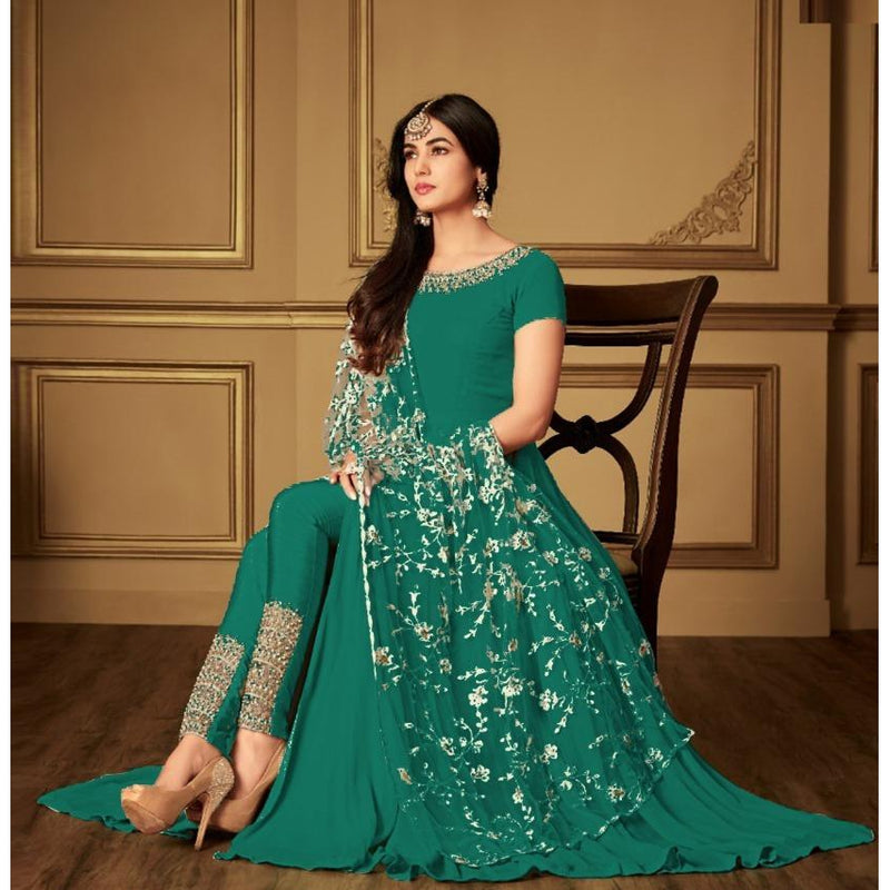 Siya Fashion Party Wear Green Georgette Embroidered Anarkali Salwar Kameez
