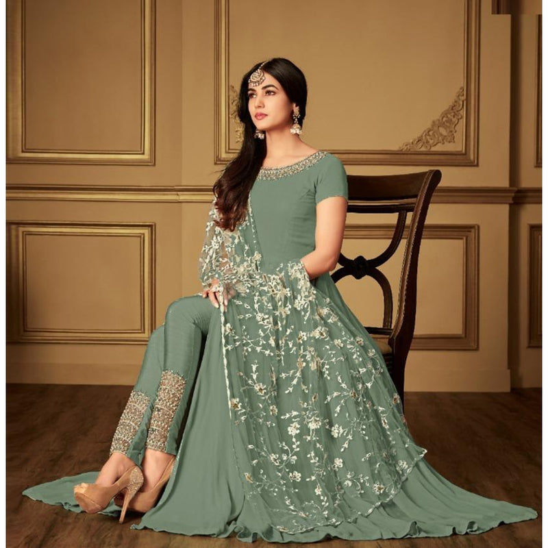 Siya Fashion Party Wear Sage Green Georgette Embroidered Anarkali Salwar Kameez