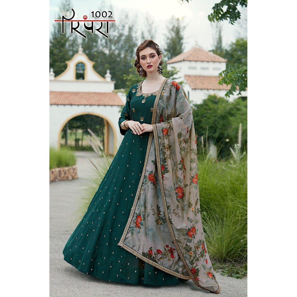 Siya Fashion Fantastic Dark Green Color Killar Silk Party Wear Gown