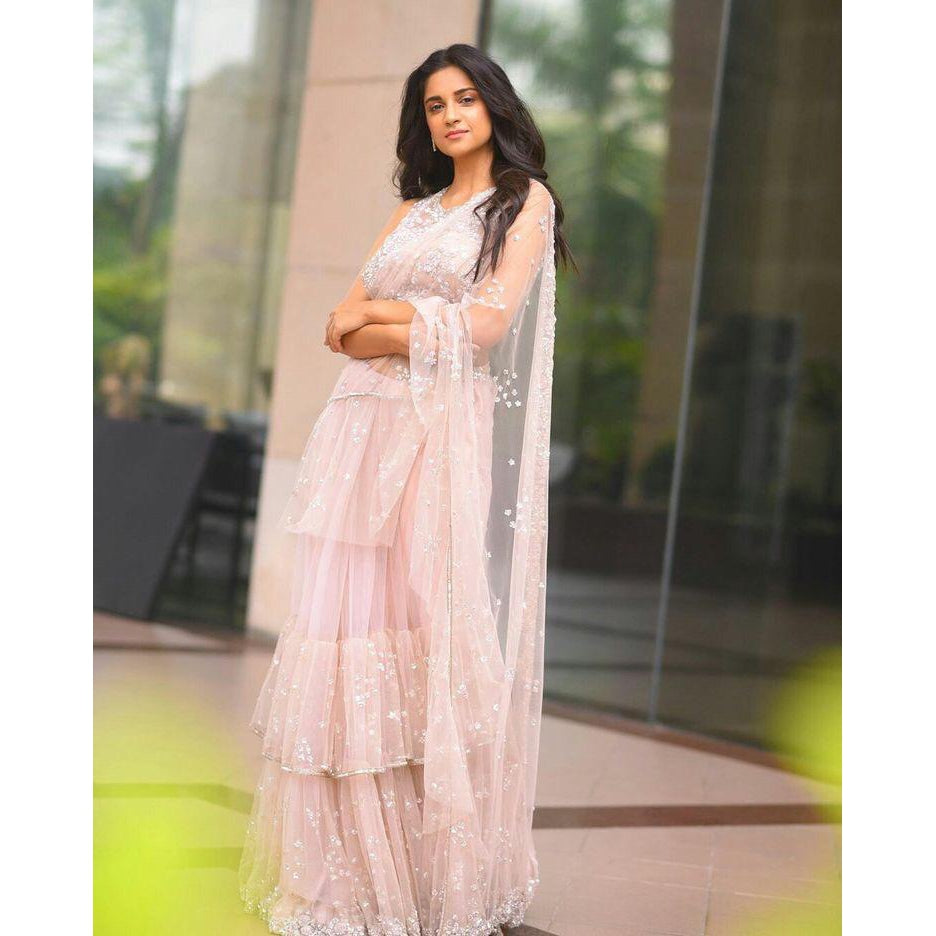Siya Fashion Beautiful Baby Pink Color Net Embroidered Ruffle Saree