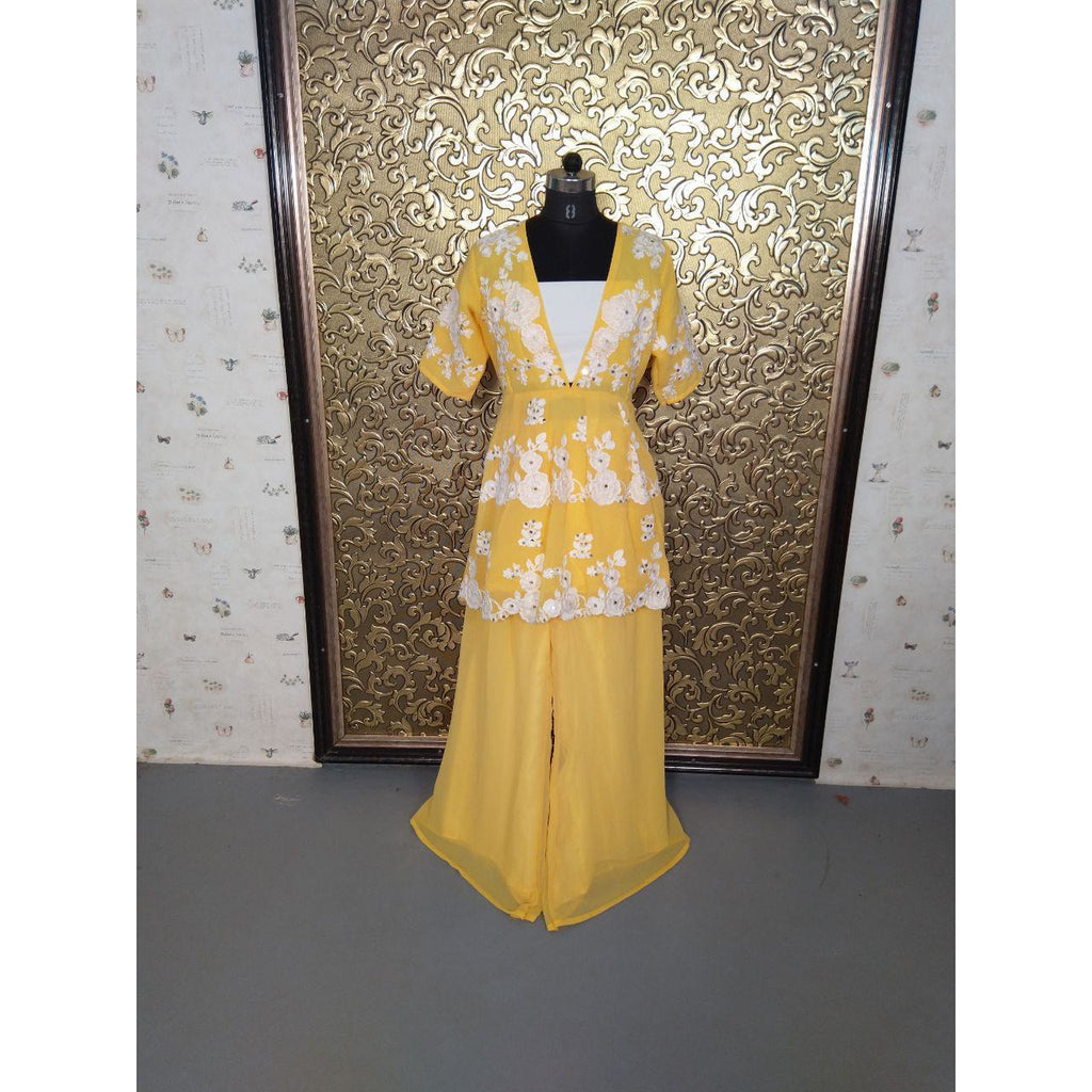 Siya Fashion Awesome Yellow Color Georgette Designer Palazzo Suit