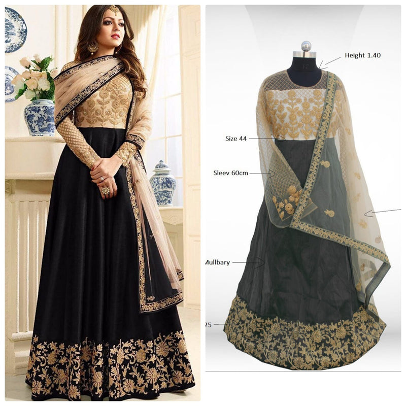 Siya Fashion Drashti Dhami Black Banglori Silk And Net Semi Stitched Long Anarkali Suit