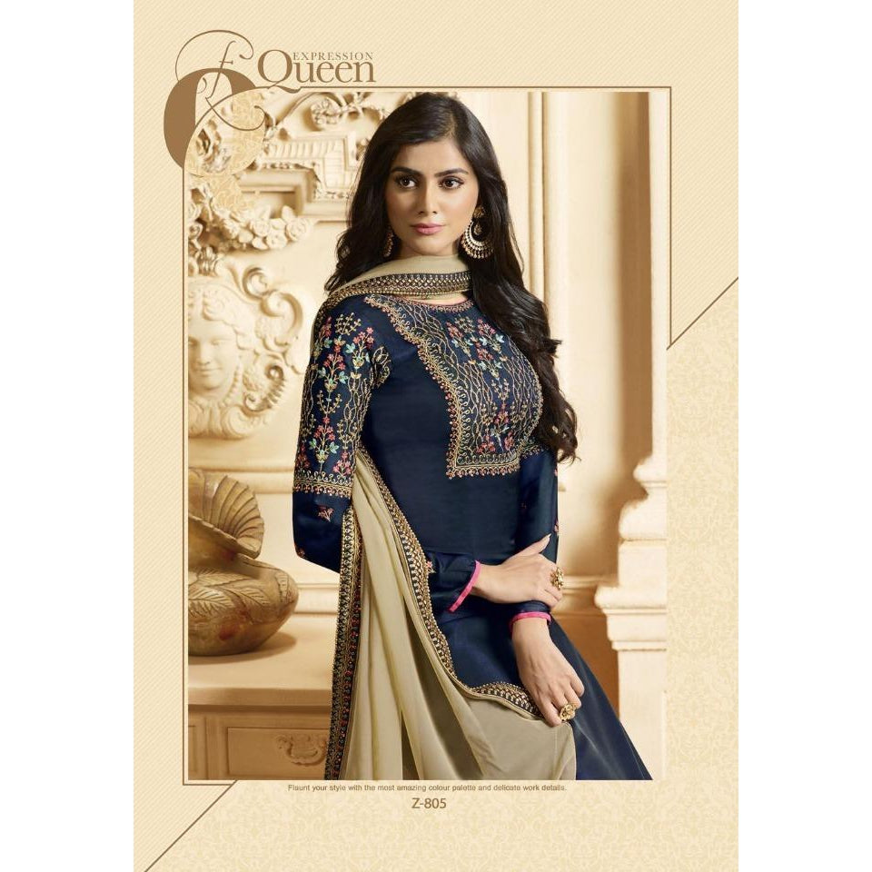 Siya Fashion Designer Midnight Blue Georgette Silk Straight Suit