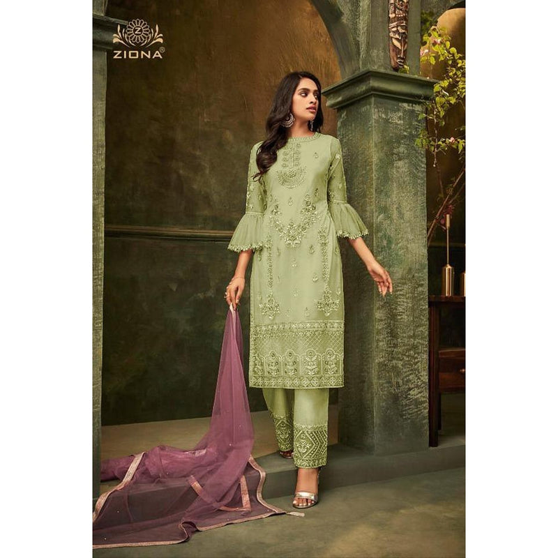 Siya Fashion Beautiful Pista Green Color Net Designer Pant Style Suit