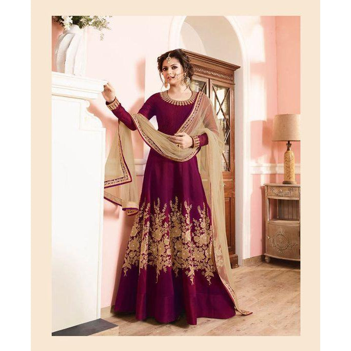 Siya Fashion New Designer Purple Anarkali Gown Style