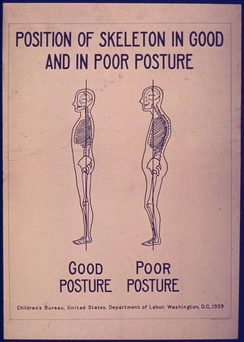 Position of skull in good and poor posture