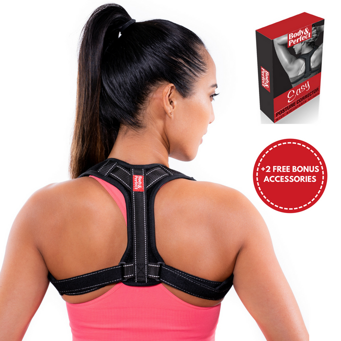 Body & Perfect Easy Posture Corrector Set with BONUS Armpit Pads and Exercise Resistance Band