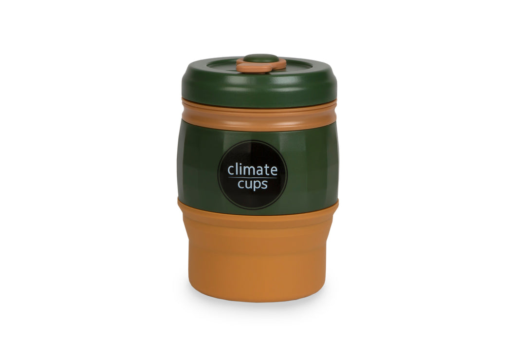Army Green Cup 380ML - Climate Cups - Collapsible Reusable Cups
