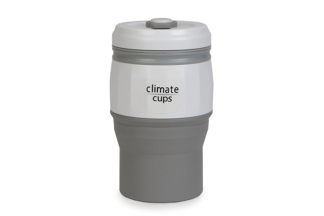 Grey Coffee Cup 520ML - Climate Cups - Collapsible Reusable Cups