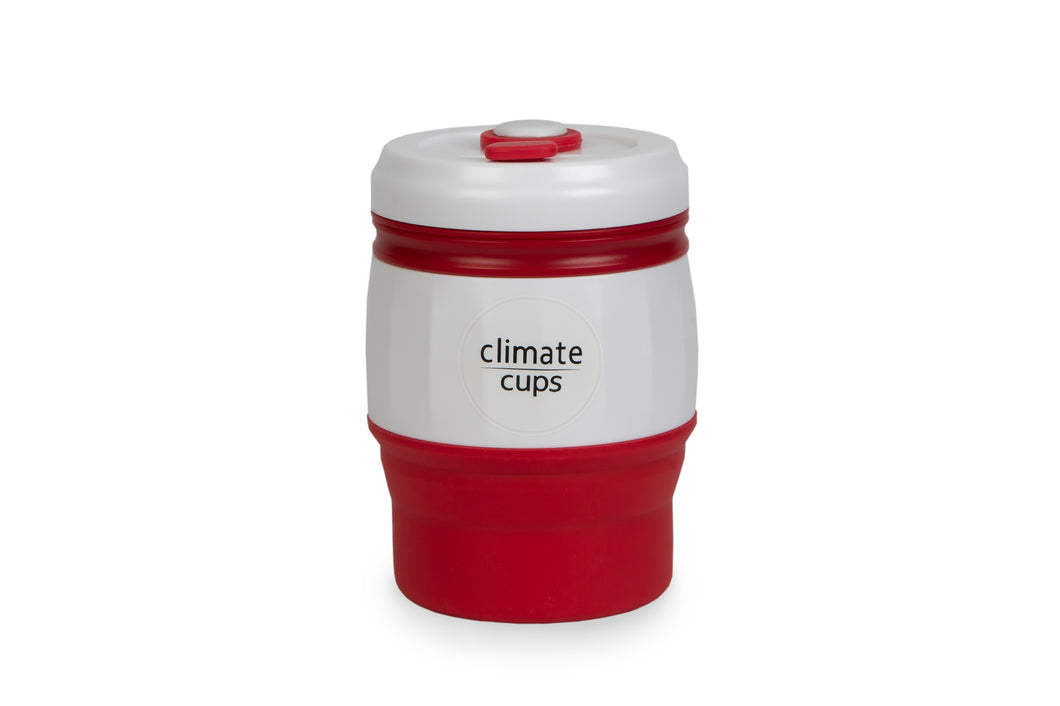 Red Coffee Cup 380ML - Climate Cups - Collapsible Reusable Cups