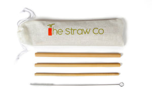 Bamboo Straws Pack - 2 Straws - Climate Cups - Collapsible Reusable Cups