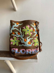 Two-Piece Bag with Smiling Flowers and Flames