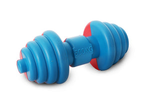 Rubber dumbbell dog toy in blue and red