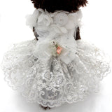 Satin and lace dog wedding gown with teddy bear charm