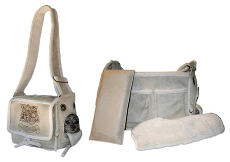Grey suede and white shearling pet carrier