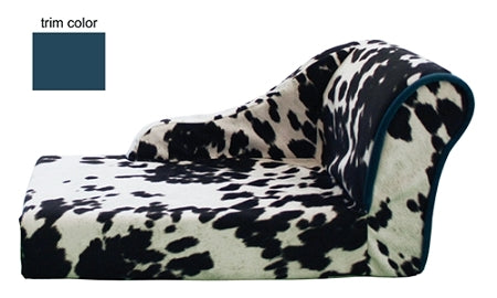 Cow print dog chaise bed