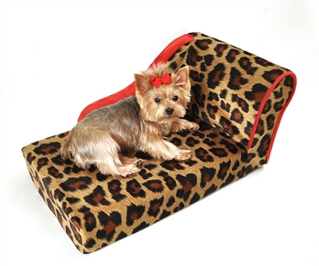 Leopard print dog chaise bed