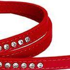 Crystal vinyl dog lead in red