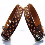 Brown monogram design dog collar