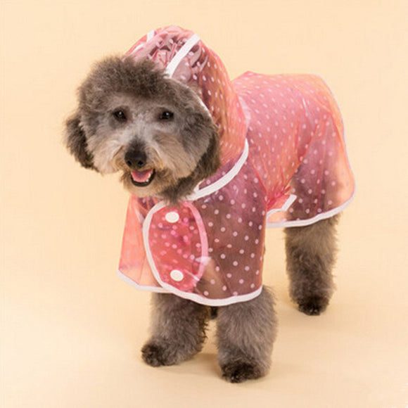 Polka dot dog raincoat in pink