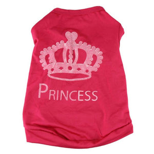 "Hot pink dog shirt with printed white crown and ""princess"""